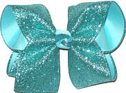 Large Aqua Glitter over Aqua Double Layer Overlay Bow
