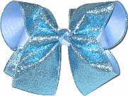 MEGA Blue Gliiter over Millenium Blue Double Layer Overlay Bow