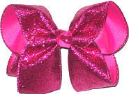 Large Raspberry Glitter over Raspberry Rose Double Layer Overlay Bow