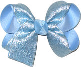 Medium Millenium Blue Sparkle Glitter over Millenium Blue Double Layer Overlay Bow