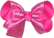 Medium Shocking Pink Sparkle Glitter over Shocking Pink Double Layer Overlay Bow