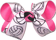 Medium Volley Ball over Hot Pink Double Layer Overlay Bow