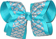 Large Silver Glitter Mermaid Scales over Turquoise Double Layer Overlay Bow