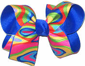 Medium Multicolor Print over Electric Blue Double Layer Overlay Bow