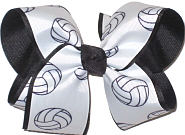 Large Volley Ball over Black Double Layer Overlay Bow