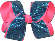 Large Sapphire Mini-scales over Tutti Fruiti Double Layer Overlay Bow