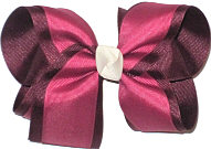 Large Maroon over Victorian Rose with Antique White Knot Double Layer Overlay Bow