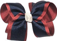 Large Nu Rust over Navy with Antique White Knot Double Layer Overlay Bow