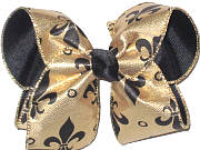 Large Black Fleur de Lis on Metallic Gold over Black Double Layer Overlay Bow