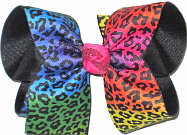MEGA Rainbows Cheeta Print over Black Double Layer Overlay Bow
