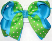 Green with Pink Dots over Blue Large Double Layer Bow