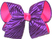 Large Black and Purple Tiger Stripes over Shocking Pink Double Layer Overlay Bow