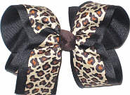 Large Natural Cheeta Print over Black Double Layer Overlay Bow