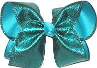 MEGA Blue Lagoon Shimmering Lame over Blue Lagoon Double Layer Overlay Bow