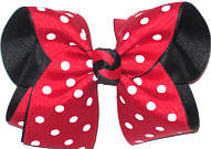 Medium Red with White Dots over Black (Minnie Mouse Pattern) Double Layer Overlay Bow