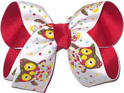 Medium Owl Print over Red Double Layer Overlay Bow