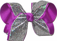 Large Silver Mini-Scales over Sugar Plum Double Layer Overlay Bow