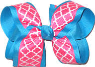 Large Hot Pink and White over Mystic Blue Double Layer Overlay Bow