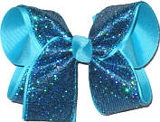 Large Sapphire Mini-Scales over Mystic Blue Double Layer Overlay Bow