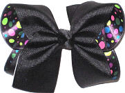 Large Black over Black Satin with Patel Multi-Dots Double Layer Overlay Bow
