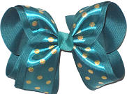 Large Teal Satin with Metallic Gold Dots over Teal Double Layer Overlay Bow