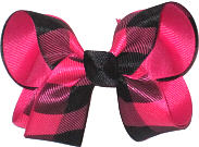 Medium Shocking Pink and Black Plaid over Shocking Pink Double Layer Overlay Bow