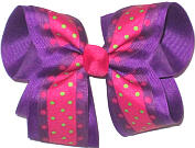 Large Green and Shocking Pink Multi-Dot over Sugar Plum Double Layer Overlay Bow