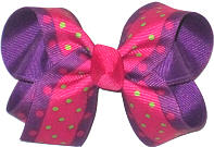 Medium Green and Shocking Pink Multi-Dot over Sugar Plum Double Layer Overlay Bow