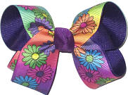 Medium Multi-Color Pastel Daisies over Purple Double Layer Overlay Bow