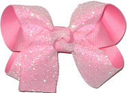 Medium White Shimmering Mesh over Pink Double Layer Overlay Bow