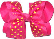 Large Shocking Pink with Maize Dots over Shocking Pink Double Layer Overlay Bow