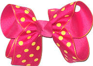 Medium Shocking Pink with Maize Dots over Shocking Pink Double Layer Overlay Bow
