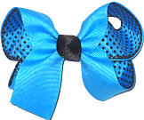 Medium Mystic Blue over Blue Chiffon with Black Dots Double Layer Overlay Bow