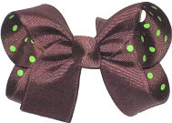 Medium Brown over Brown with Green Dots Double Layer Overlay Bow