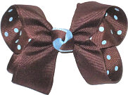 Medium Brown over Brown with Millenium Blue Dots Double Layer Overlay Bow