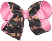 Medium Camo over Pink Double Layer Overlay Bow