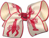 Large Crawfish on Canvas Ribbon over Light Ivory Double Layer Overlay Bow