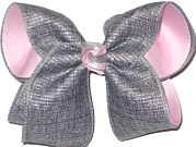 Large Gray and Silver Canvas over Light Pink Double Layer Overlay Bow