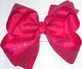 Shocking Pink Glitter over Shocking Pink Large Double Layer Bow