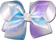 Large Blue and Purple Sparkle Glitter over White Double Layer Overlay Bow