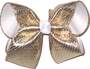 Large Heavy Metallic Gold Glitter over White Double Layer Overlay Bow