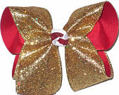 Large Heavy Metallic Gold Glitter over Red Double Layer Overlay Bow