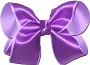 Large Orchid Satin over Light Orchid Grosgrain Double Layer Overlay Bow