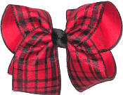 Large Red and Black Plaid over Red Double Layer Overlay Bow