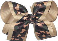 Large Camo over Khaki Double Layer Overlay Bow