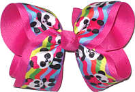 Large Ling Ling Panda over Shocking Pink Double Layer Overlay Bow