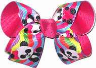 Medium Ling Ling Panda over Shocking Pink Double Layer Overlay Bow