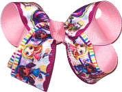 Medium Little Charmers over Pink Double Layer Overlay Bow