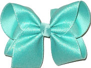 Large Aqua with Metallic Highlights over Aqua Double Layer Overlay Bow
