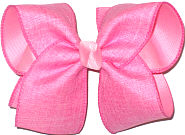 MEGA Hot Pink Canvas over Pink Double Layer Overlay Bow